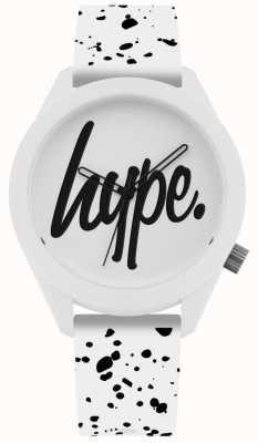 Hype | heren siliconen band met witte en zwarte print | witte wijzerplaat | HYG003W