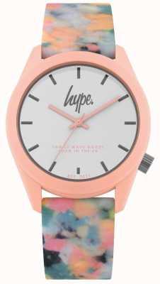 Hype | roze multikleuren siliconen riem | witte wijzerplaat | HYU009PU