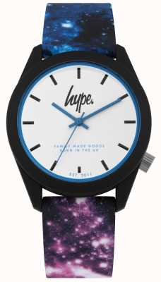Hype | blauw en paars Galaxy print siliconen | witte wijzerplaat | HYU009BV