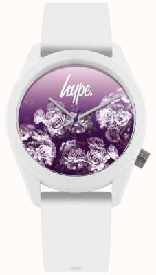 Hype | witte siliconen riem | paarse bloemwijzerplaat | HYU010WV