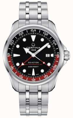 Certina | ds actie | roestvrijstalen armband | zwarte wijzerplaat | C0324291105100
