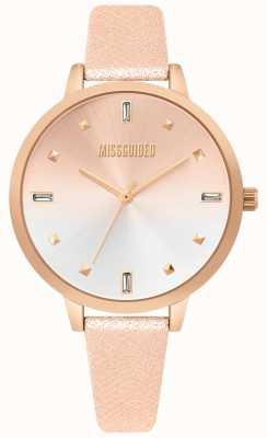 Missguided   dames roségouden lederen horloge   tweekleurige wijzerplaat   MG020RG