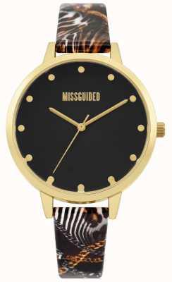 Missguided   dames multi print riem   zwarte wijzerplaat   gouden kast   MG022BG