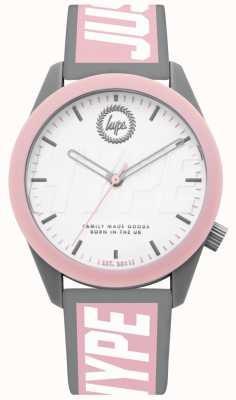 Hype | dameshorloge | grijs en roze siliconen riem | HYL018PW