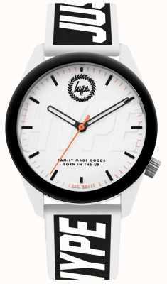 Hype | herenhorloge | witte en zwarte siliconen riem | HYU018BW