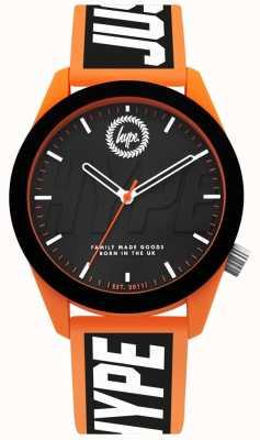 Hype | herenhorloge | oranje en zwart siliconen bandje HYG018BO