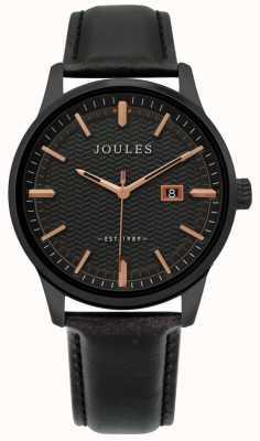 Joules | heren marfield horloge | zwarte leren riem | zwarte wijzerplaat | JSG009NB