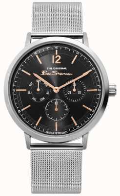 Ben Sherman   heren zilver mesh horloge   zwarte wijzerplaat   BS011ESM