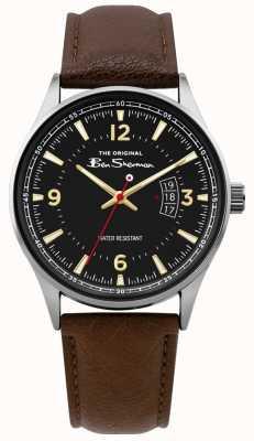 Ben Sherman | heren bruin lederen script horloge | zwarte wijzerplaat | BS008BR
