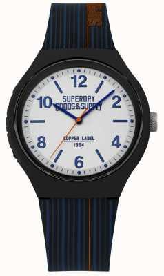 Superdry | navy siliconen riem | zilveren wijzerplaat | SYG252U