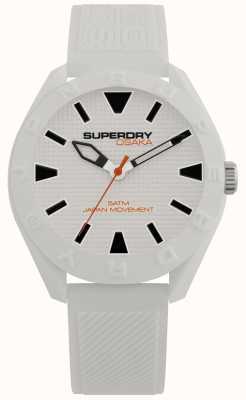 Superdry | osaka | mat witte wijzerplaat | getextureerde witte riem SYG243W