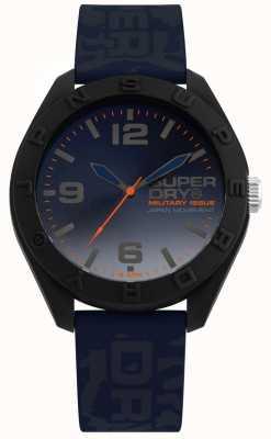 Superdry | osaka | camo blauwe siliconen riem | blauwe wijzerplaat | SYG242U