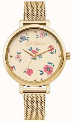 Cath Kidston | womens brampton ditsy watch | gouden netwerkarmband CKL079GM
