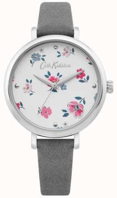 Cath Kidston | womens brampton ditsy watch | grijze leren riem | CKL079E