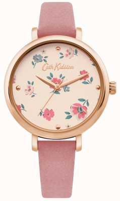 Cath Kidston | womens brampton ditsy watch | roze leren riem | CKL079PRG