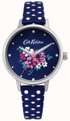 Cath Kidston | womens lucky bunch horloge | polka dot blauw leer | CKL070U