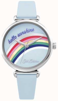 Cath Kidston | regenbooghorloge voor dames | blauwe leren riem | regenboog wijzerplaat | CKL081U