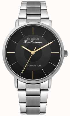 Ben Sherman | mens script horloge | roestvrijstalen armband | zwarte wijzerplaat BS014BSM