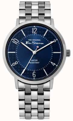 Ben Sherman | mens script horloge | roestvrijstalen armband | blauwe wijzerplaat BS018USM