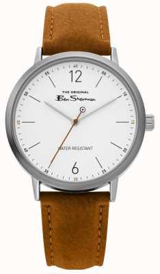 Ben Sherman | mens script horloge | bruine riem | witte wijzerplaat | BS019T