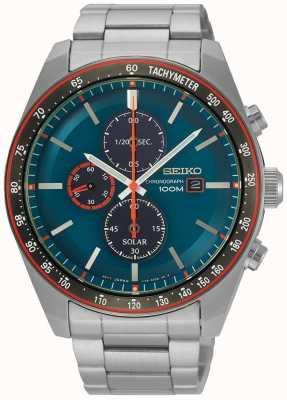Seiko Heren zonneklok chronograaf blauw roestvrij staal SSC717P1