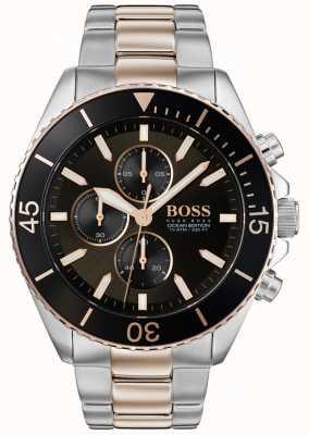 Hugo Boss | mens ocean edition | tweekleurig roestvrij staal | zwarte wijzerplaat 1513705