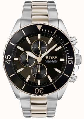 Boss | mens ocean edition | tweekleurig roestvrij staal | zwarte wijzerplaat 1513705