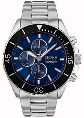 Hugo Boss | mens ocean edition | zilver roestvrij staal | blauwe wijzerplaat | 1513704