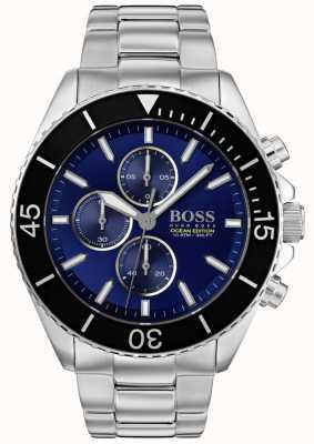 BOSS | mens ocean edition | zilver roestvrij staal | blauwe wijzerplaat | 1513704