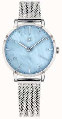 Tommy Hilfiger   dameslelie horloge   roestvrijstalen gaas   blauwe wijzerplaat   1782041
