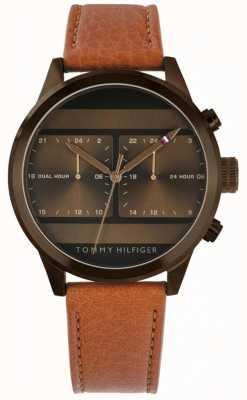 Tommy Hilfiger | heren bruin lederen horloge | 1791594