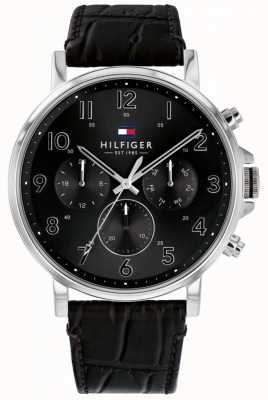 Tommy Hilfiger | heren zwart lederen daniel horloge | 1710381