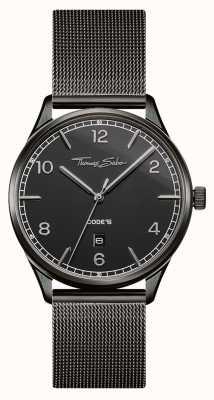 Thomas Sabo | roestvrij stalen zwarte mesh armband | zwarte wijzerplaat | WA0342-202-203-40