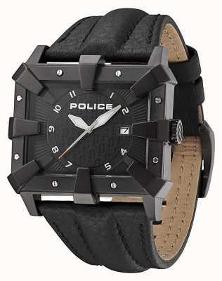Police Zwarte leren wijzerplaat heren zwart PL.93404AEU/02A