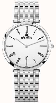 Michel Herbelin Heren armband met witte wijzerplaat van epsilon roestvrij staal 19416/B01N