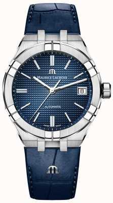 Maurice Lacroix Aikon automatische 39 mm blauwe wijzerplaat blauwe lederen band AI6007-SS001-430-1