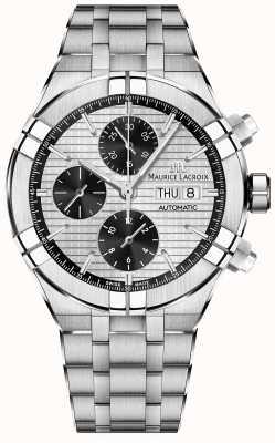 Maurice Lacroix Aikon automatische chronograaf panda wijzerplaat roestvrij staal AI6038-SS002-132-1