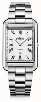 Rotary   heren armband in edelstaal   witte wijzerplaat   GB05280/01
