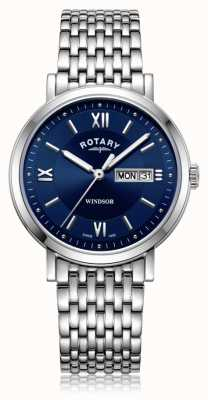 Rotary | heren armband in edelstaal | blauwe wijzerplaat | GB05300/66