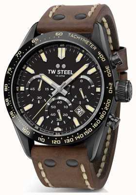 TW Steel | heren bruine lederen band | zwarte chronograaf | CHS1