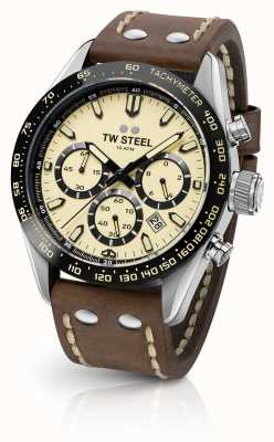 TW Steel | heren bruine lederen band | cream chronograph | CHS2