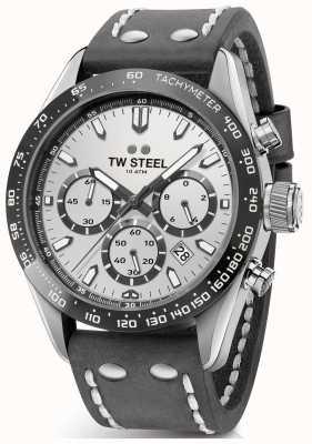 TW Steel | heren donkergrijze lederen band | zilveren wijzerplaat | CHS3