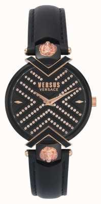 Versus Versace | zwarte lederen damesriem gevormde wijzerplaat | VSPLH1519