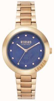 Versus Versace Dames rosé gouden armband | blauwe wijzerplaat | VSPLJ0819
