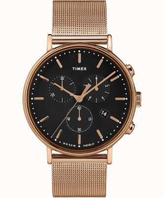 Timex | fairfield chrono zwarte wijzerplaat | geval van rose goudkleur TW2T37100D7PF