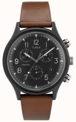 Timex | mk1 staal supernova chrono | leren horloge | TW2T29600D7PF
