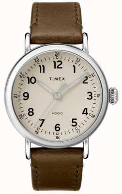 Timex | heren olijf lederen band | grijze wijzerplaat | TW2T20100D7PF