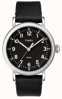 Timex | zwarte leren riem voor heren | zwarte wijzerplaat | TW2T20200D7PF