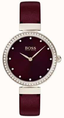 Boss | dames bordeaux lederen band 1502481