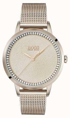Boss   dames licht rose goud mesh armband   1502464